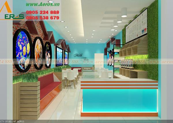 Hình ảnh thiết kế nội thất quán trà sữa anh Sáng tại quận 5, TPHCM