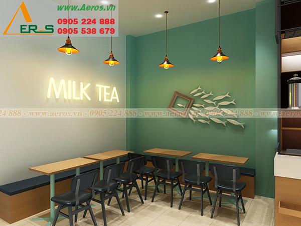 Hình ảnh thiết kế thi công quán trà sữa chị Lan ở quận Tân Bình