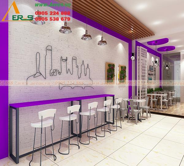 Hình ảnh thiết kế quán trà sữa Mimosa ở quận 7, TPHCM