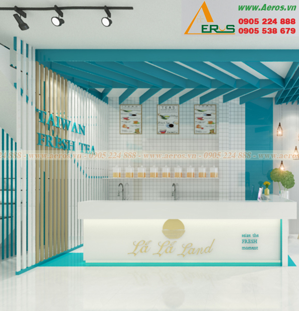 Hình ảnh thiết kế thi công quán trà sữa chị Nhung ở Thủ Dầu Một, Bình Dương
