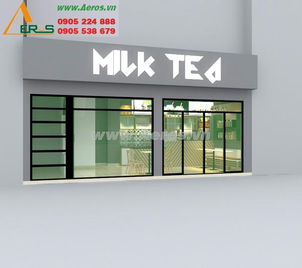 Thiết kế thi công bảng hiệu quán trà sữa anh Huy, quận 3, TP. HCM