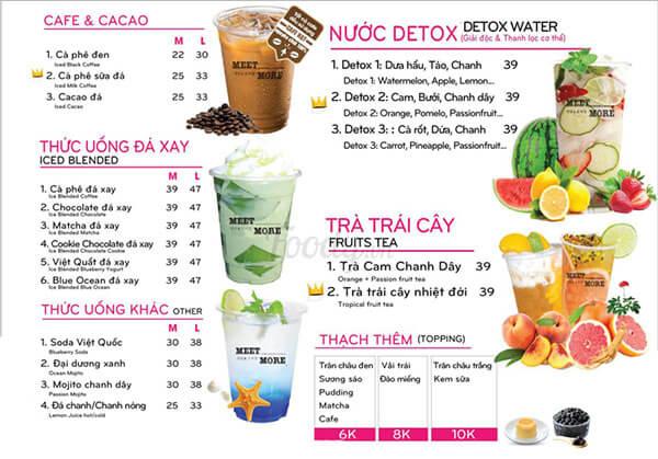 hình ảnh trên menu quán trà sữa
