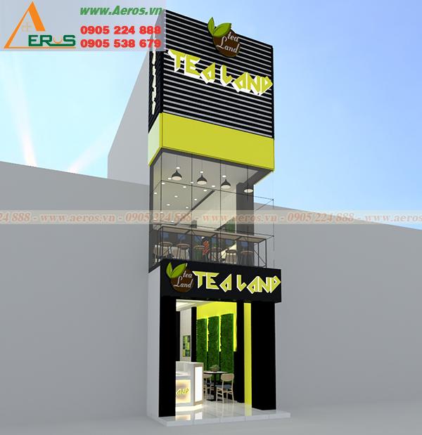 Hình ảnh thiết kế thi công bảng hiệu quảng cáo cho quán trà sữa Tealand, Bình Dương