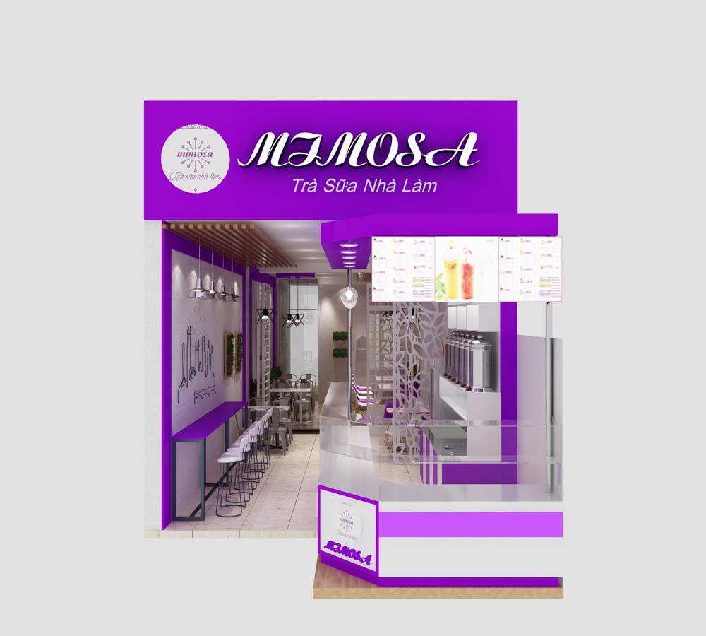 Thiết kế quán trà sữa mimosa ở quận 7, TPHCM
