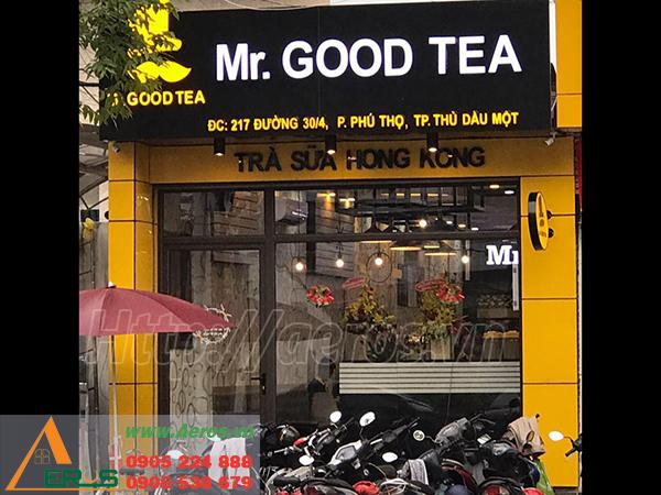 thi công bảng hiệu quán trà sữa mr good tea