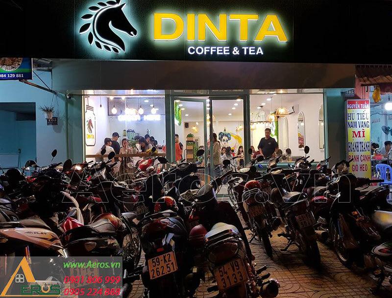 Hình ảnh thi công bảng hiệu quán trà sữa DINTA Củ chi