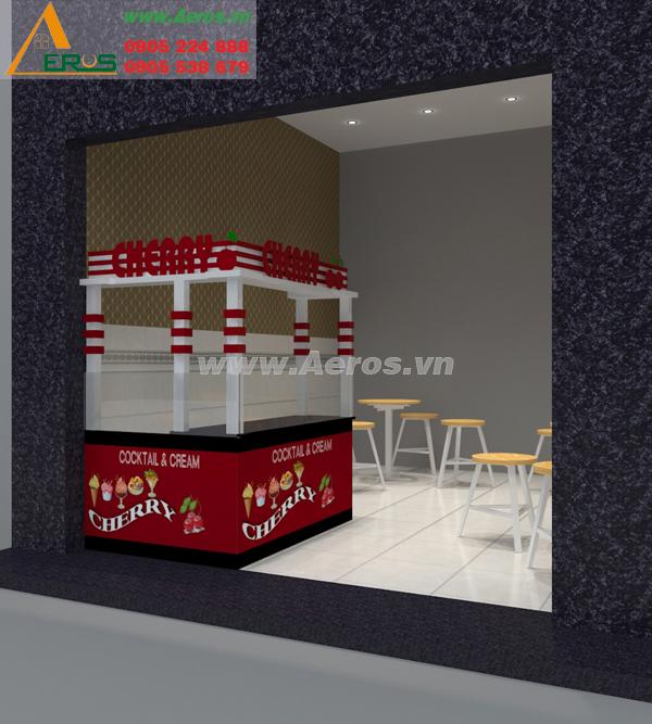Hình ảnh Thiết kế thi công nội thất quán kem trà sữa Cherry của chị Châu, quận 12, TP. HCM