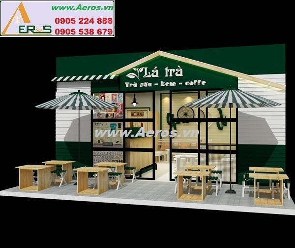 Hình ảnh thiết kế thi công quán trà sữa Lá Trà tại Bình Dương