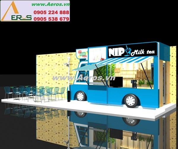 Hình ảnh thiết kế thi công quán trà sữa NLP tại Bình Dương