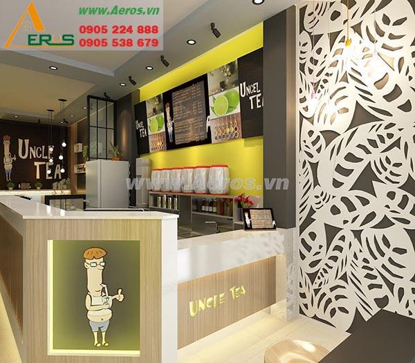 Hình ảnh thiết kế thi công quán trà sữa UNCLE TEA