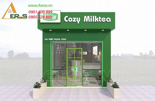 Thiết kế quán trà sữa đẹp và mang tông màu xanh tự nhiên