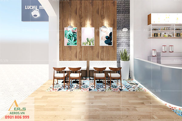 Thiết kế quán trà sữa đẹp và trẻ trung của chị Thanh ở Đồng Nai