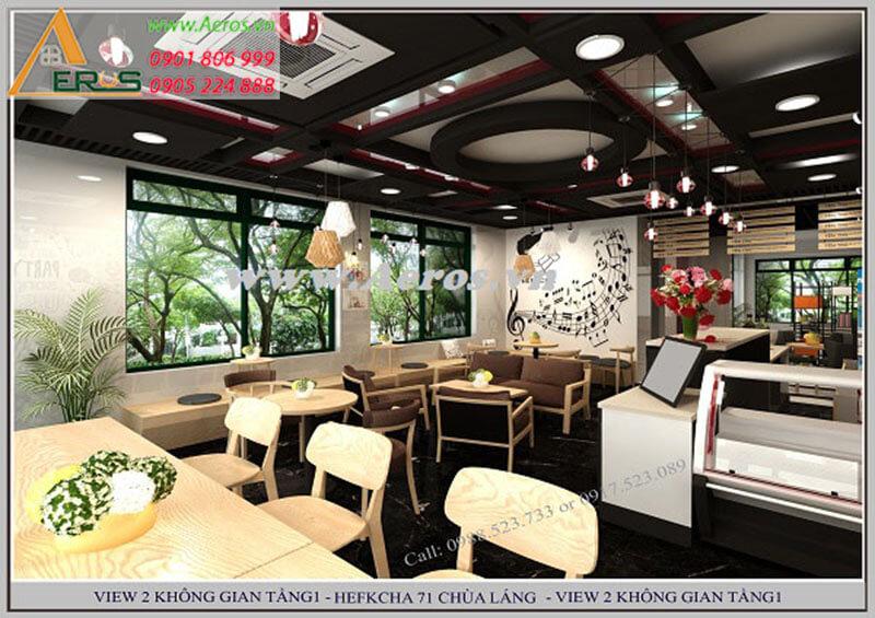 Thiết kế thi công nội thất quán trà sữa Hefkcha tại Hà Nội