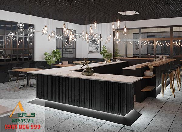 Thiết kế quán trà sữa hiện đại của anh Hùng với hệ thống ánh sáng được đầu tư rất tỉ mỉ
