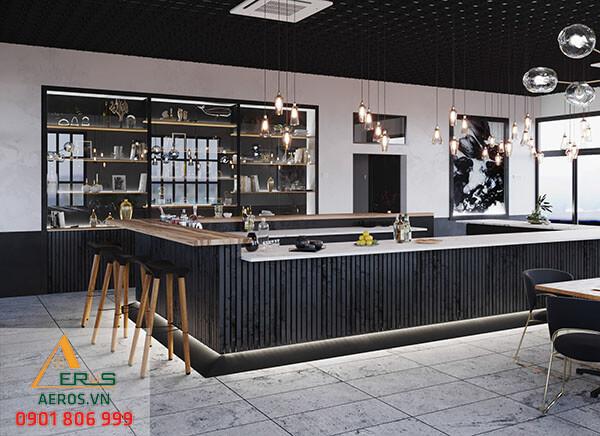 Thiết kế quán trà sữa hiện đại mang tới những đường nét thu hút cùng tông màu nổi bật