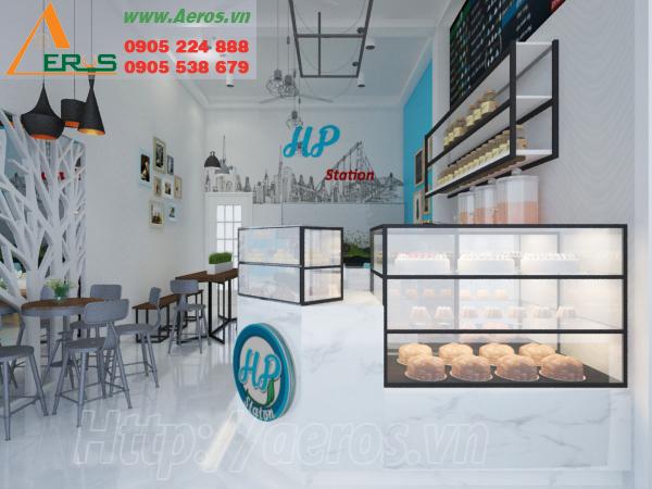 thiết kế nội thất quán trà sữa HP ở quận Tân Phú, TPHCM