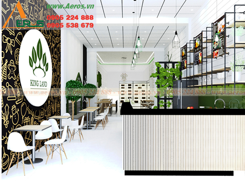 Hình ảnh thiết kế nội thất quán trà sữa King Land ở Long An