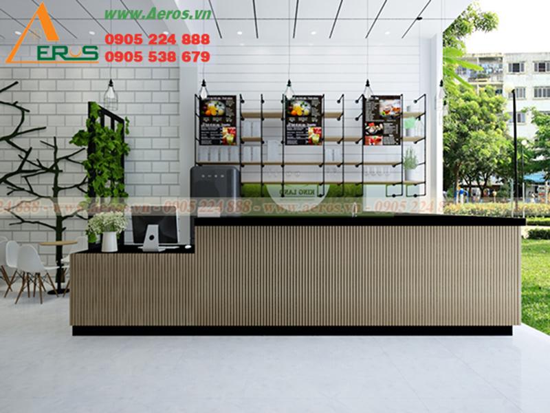 Hình ảnh thiết kế quầy trà sữa cho quán King land ở Tân An, Long an