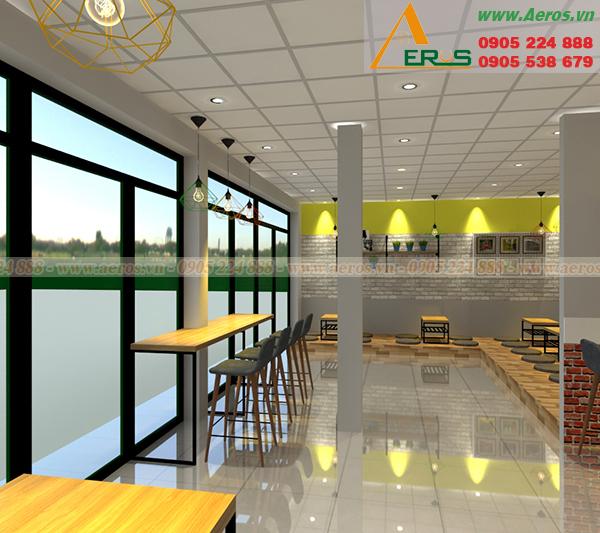 Hình ảnh thiết kế thi công quán trà sữa mỳ cay chị Ngân ở Bình Dương