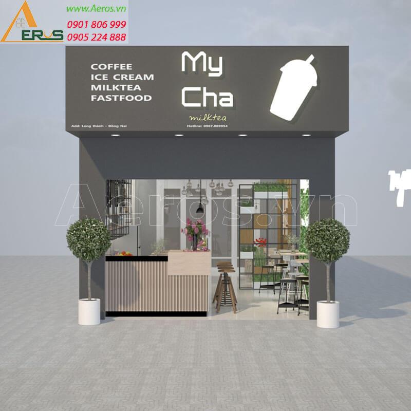 Hình ảnh thiết kế thi công bảng hiệu quán trà sữa my cha tại Long Khánh, Đồng Nai
