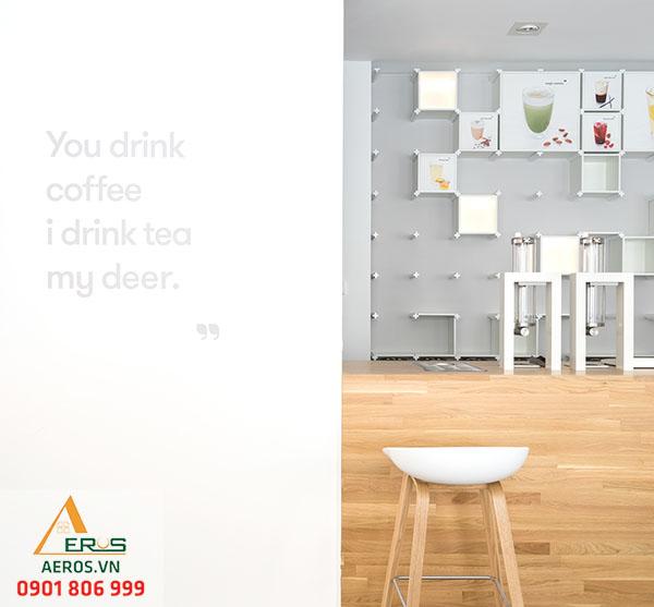 Thiết kế quán trà sữa nhỏ của chị Hạnh được thiết kế vô cùng tinh gọn không họa tiết thừa