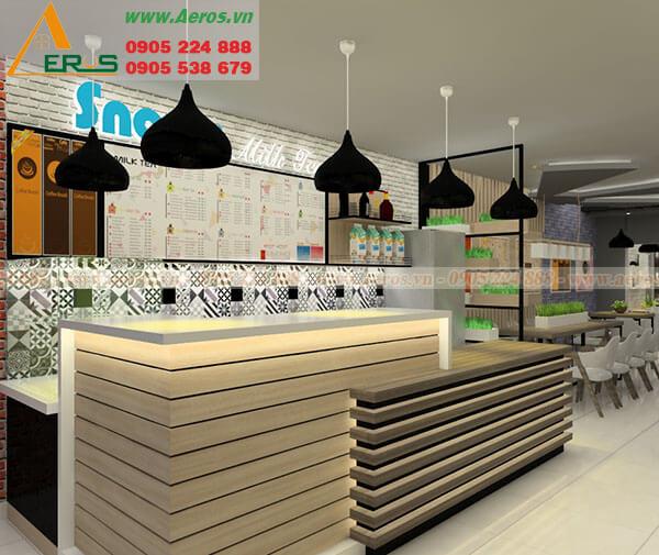 Hình ảnh thiết kế thi công quán trà sữa chị Tuyết tại Củ Chi