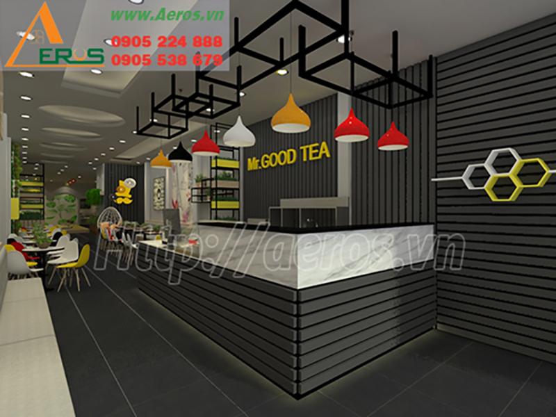 mẫu thiết kế quán trà sữa đẹp, hiện đại