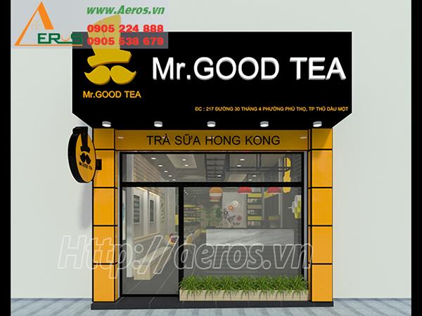 hinh anhe thiết kế bảng hiệu quán trà sữa Mr GOOD TEA ở tại Bình DƯƠNG