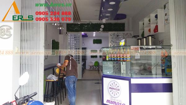 Hình ảnh quán trà sữa Mimosa của chị Lương thi công hoàn thiện