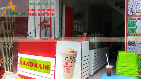 Thiết kế mặt tiền của quán trà sữa của chị Phương