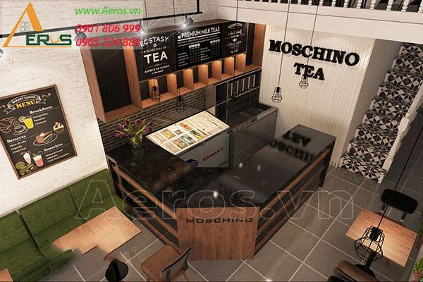 Thiết kế quán trà sữa diện tích nhỏ - trà sữa Moschino