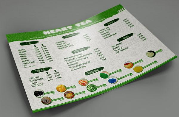 cách thiết kế menu quán trà sữa