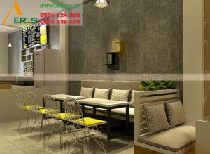 thiết kế thi cong quán trà sữa chị Hà