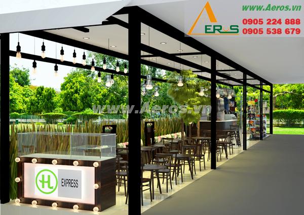 thiết kế gian hàng trà sữa cafe của chị Oanh