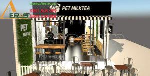 thiết kế quán trà sữa Pet Milktea