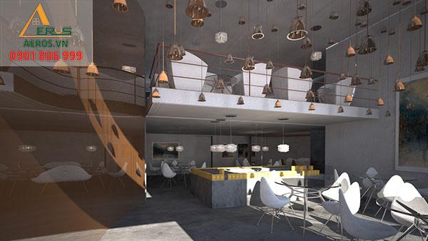 Thiết kế quán trà sữa 2 tầng của chị Đoài tại quận 6