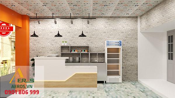 Thiết kế quán trà sữa diện tích nhỏ của anh Quốc tại Hóc Môn